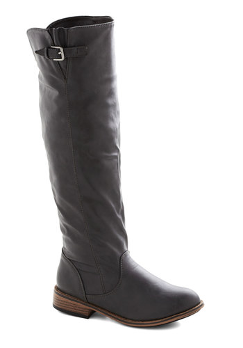 Setting Up Shop Boots - Grey, Solid, Buckles, Faux Leather, Low, Fall, Winter