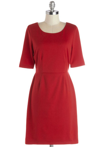 Conference Room Chic Dress in Red - Knit, Mid-length, Red, Solid, Casual, Sheath / Shift, Short Sleeves, Better, Scoop, Work, Exclusives, Variation, Winter