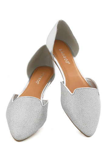 Flats Amore! in Silver - Flat, Faux Leather, Silver, Solid, Good, Holiday Party