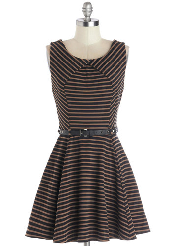 A Beautiful Latte Dress - Stripes, Belted, Casual, A-line, Sleeveless, Better, Scoop, Knit, Tan / Cream, Black, Backless, Studs, Short