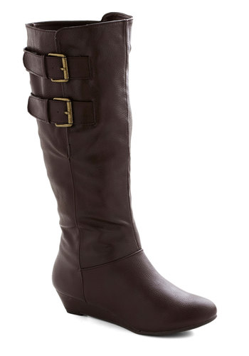 Chocolate Boutique Boot - Brown, Solid, Buckles, Steampunk, Wedge, Low, Faux Leather, Rustic