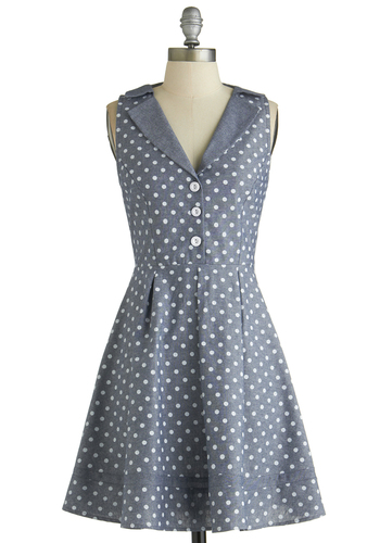 Playwright Date Dress in Chambray - Blue, White, Polka Dots, Buttons, Vintage Inspired, 50s, Shirt Dress, Sleeveless, Good, Collared, Mid-length, Cotton, Woven, Casual, A-line, Full-Size Run