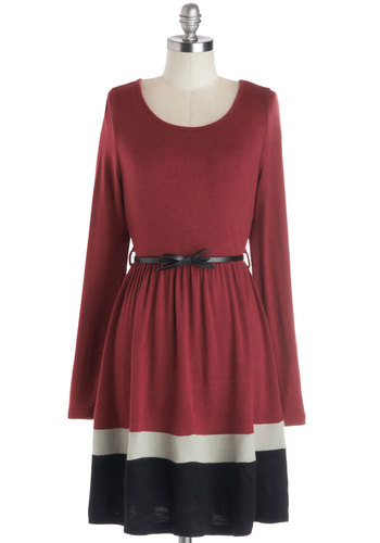 Ciao for Now Dress - Red, Belted, Casual, A-line, Long Sleeve, Good, Scoop, Knit, Mid-length, Black, Grey, Fall, Winter