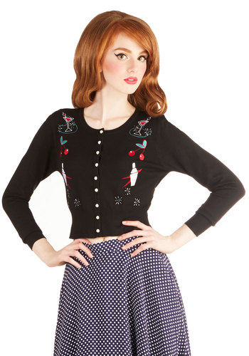 Gal's Night Out Cardigan - Short, Knit, Novelty Print, Buttons, Party, Girls Night Out, Rockabilly, Vintage Inspired, Fruits, Button Down, Better, Crew, Black, Long Sleeve, Black, Multi, Embroidery, Long Sleeve