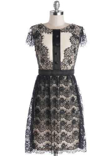 Snazzy Socialite Dress - Short, Woven, Black, White, Buttons, Lace, Cocktail, A-line, Cap Sleeves, Better, Party, Satin, Lace