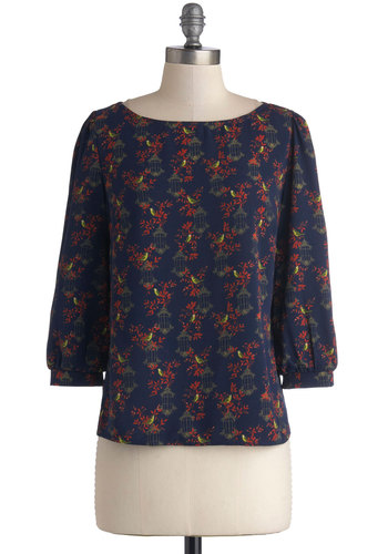 Singing Stroll Top - Woven, Print with Animals, Good, Boat, Blue, 3/4 Sleeve, Blue, Critters, 3/4 Sleeve, Work, Mid-length, Bird, Woodland Creature