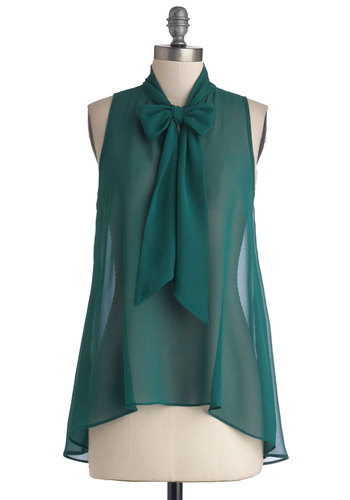 Cute Do You Do Top in Forest - Chiffon, Sheer, Woven, Mid-length, Green, Solid, Tie Neck, Work, Daytime Party, Tent / Trapeze, Sleeveless, Green, Sleeveless