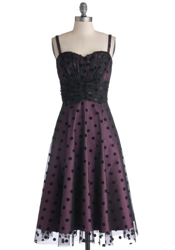 Plum Kind of Wonderful Dress by Stop Staring! - Purple, Black, Polka Dots, Special Occasion, Cocktail, Vintage Inspired, A-line, Spaghetti Straps, Knit, Long
