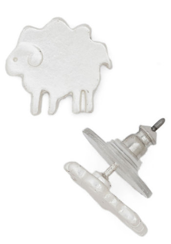 Tres Sheep Earrings - Print with Animals, Silver