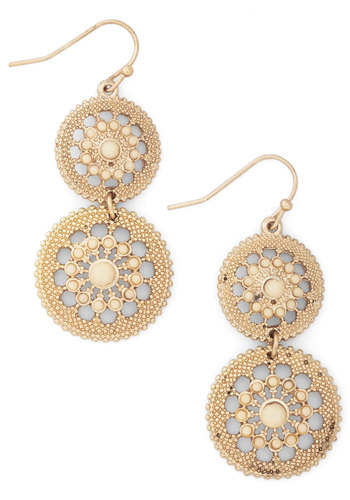 Shine is of the Essence Earrings in Cream - Cream, Solid, Tiered, Gold, Vintage Inspired