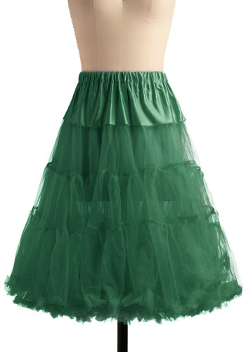 Va Va Voluminous Petticoat in Fern - Sheer, Knit, Green, Solid, Ruffles, Party, Cocktail, Vintage Inspired, 50s, Variation, 60s, Holiday Party
