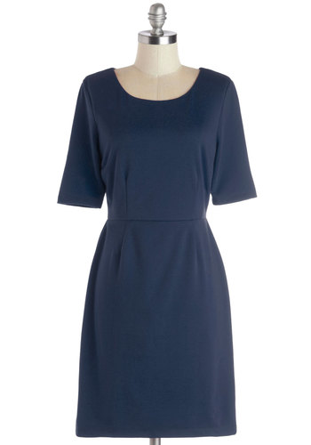 Conference Room Chic Dress in Navy - Blue, Solid, Work, Sheath / Shift, Short Sleeves, Better, Scoop, Knit, Mid-length