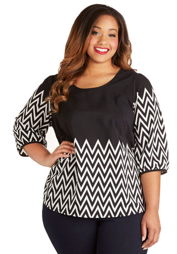 Blog Feature Top in Plus Size - Woven, Black, White, Chevron, Buttons, 3/4 Sleeve, Scoop