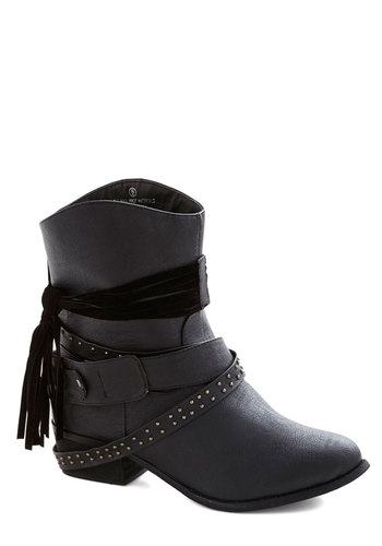 Saturday Night Show Boots - Low, Faux Leather, Black, Solid, Studs, Tassels, Good, Steampunk