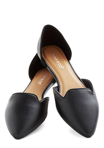 Flats Amore! in Black - Flat, Faux Leather, Black, Solid, Minimal, Good, Work
