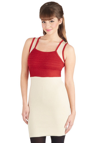 Spirited Showcase Dress - Sheer, Knit, Short, Red, Tan / Cream, Cutout, Girls Night Out, Bodycon / Bandage, Tank top (2 thick straps), Better, Mini