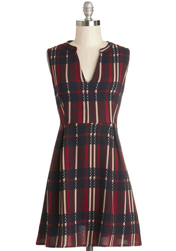 Holiday Spirited Dress - Red, Blue, Tan / Cream, Plaid, Casual, A-line, Sleeveless, Good, V Neck
