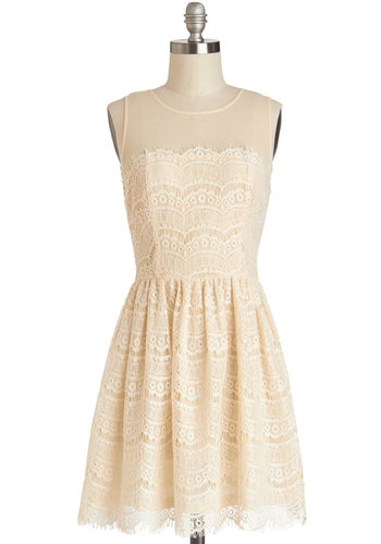 Fashionably Undulate Dress in Cream - Cream, Lace, Party, A-line, Sleeveless, Good, Crew, Variation, Sheer, Woven, Short, Lace