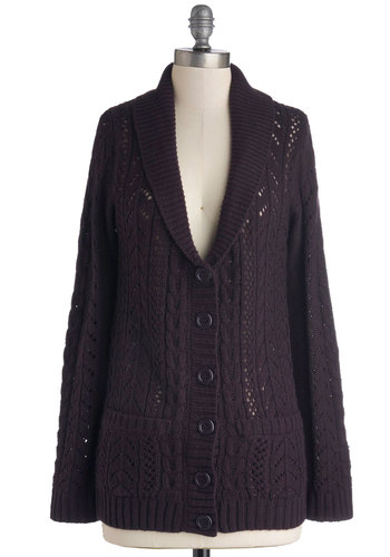 Aubergine Supreme Cardigan - Sheer, Knit, Mid-length, Solid, Buttons, Pockets, Casual, Rustic, Better, Collared, Purple, Long Sleeve, Purple, Long Sleeve, Knitted, Fall, Winter