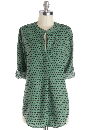 Make the Host of It Top - Woven, Long, Novelty Print, Buttons, Casual, Good, Green, Tab Sleeve, Green