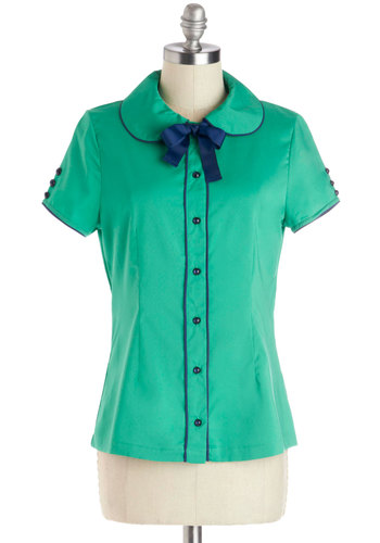Conducting Interviews Top by Bea & Dot - Woven, Mid-length, Bows, Buttons, Peter Pan Collar, Trim, Work, Vintage Inspired, 60s, Collared, Green, Short Sleeve, Solid, Green, Blue, Exclusives, Private Label