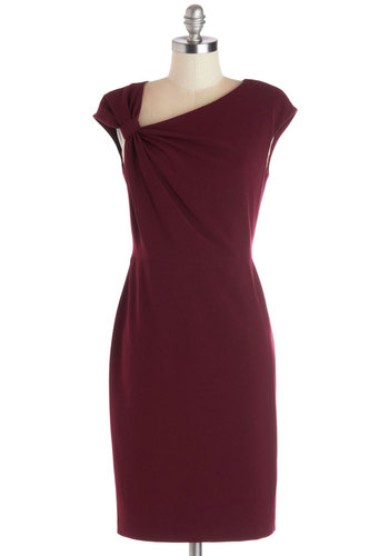 Family Fete Dress - Woven, Red, Solid, Cocktail, Sheath / Shift, Cap Sleeves, Better, Exposed zipper, Party, Holiday Party
