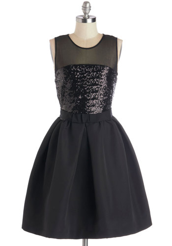 Premier and Dear Dress - Mid-length, Sheer, Woven, Black, Solid, Sequins, Special Occasion, Cocktail, LBD, Fit & Flare, Sleeveless, Better, Holiday Party, Scoop
