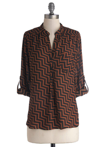 Angularity en Vogue Top - Sheer, Woven, Mid-length, Chiffon, Chevron, Buttons, Work, Vintage Inspired, 70s, Good, Collared, Tab Sleeve, Black, Pockets, Black, Top Rated