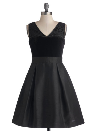 Lass of Luxury Dress - Knit, Woven, Mid-length, Black, Solid, Special Occasion, Cocktail, Holiday Party, Fit & Flare, Sleeveless, Better, V Neck, Pockets, LBD