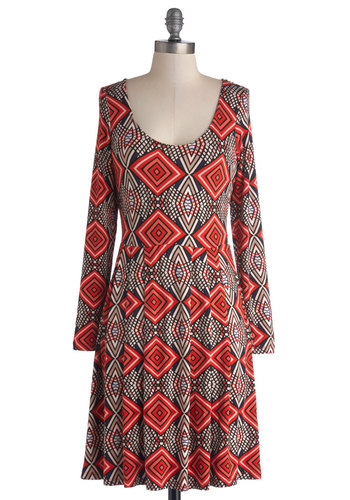 Chai a New Cafe Dress - Jersey, Knit, Mid-length, Multi, Print, Casual, A-line, Long Sleeve, Good, Scoop