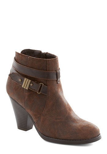 Western Excursion Bootie - Mid, Faux Leather, Brown, Solid, Better, Buckles
