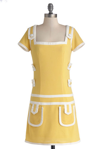 Sunny Symmetry Dress - Yellow, White, Pockets, Trim, Casual, Mod, Shift, Cap Sleeves, Better, Woven, Short, Buttons, Vintage Inspired, 60s