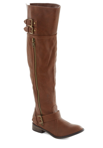 Wherever You're Headed Boot - Low, Faux Leather, Tan, Solid, Buckles, Exposed zipper, Studs, Good