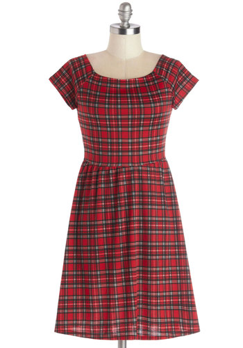 Your Best Fete Dress - Red, Black, White, Plaid, Casual, Cap Sleeves, Good, Scoop, Short, Knit, Winter