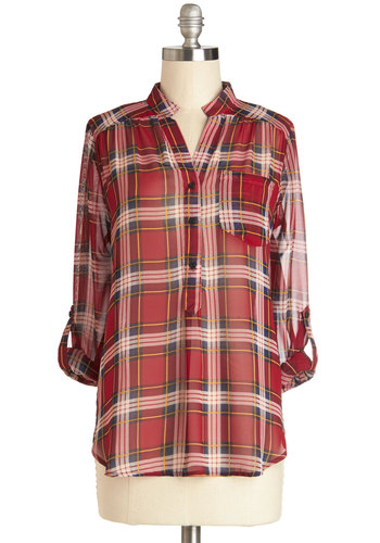 Living Room Lodging Top in Sunshine Red - Chiffon, Sheer, Woven, Mid-length, Plaid, Buttons, Pockets, Casual, Vintage Inspired, 90s, Good, Collared, Red, Tab Sleeve, Red, Rustic, Button Down, Long Sleeve, Press Placement