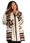Literary Evening Cardigan in Plus Size by BB Dakota - Knit, Multi, Brown, Tan / Cream, Black, Grey, Print, Casual, Rustic, Long Sleeve, Fall