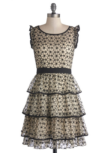 Lovely Layers Dress - Tan / Cream, Black, Floral, Ruffles, Tiered, A-line, Cap Sleeves, Better, Scoop, Sheer, Woven, Mid-length, Party, Homecoming