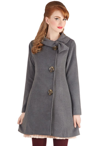 Perpetual Charm Coat in Charcoal - Solid, Buttons, Vintage Inspired, Fall, Winter, Exclusives, Long, Collared, Grey, Long Sleeve, 2, Grey, Bows, Pockets, Variation