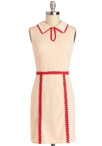 Hit the Market Dress - Cream, Red, Solid, Trim, Casual, Vintage Inspired, Shift, Sleeveless, Good, Collared, Knit, Woven, 60s