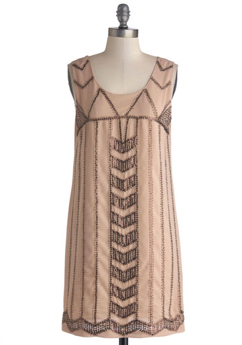 Quite Copacetic Dress - Sheer, Woven, Mid-length, Tan / Cream, Sequins, Cocktail, Shift, Tank top (2 thick straps), Better, Scoop, Beads, Party, Vintage Inspired, 20s, Pastel, 30s, Tan, Bronze