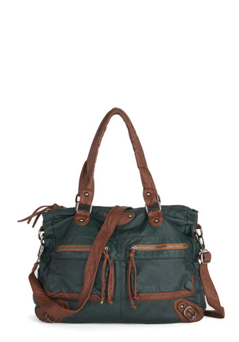 Day On the Hometown Bag - Green, Tan / Cream, Solid, Trim, Casual, Better, Faux Leather, Woven