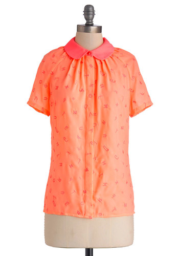 Character Count Top by Nishe - Chiffon, Sheer, Woven, Mid-length, Novelty Print, Buttons, Peter Pan Collar, Vintage Inspired, 60s, Better, Collared, Orange, Short Sleeve, Orange, Pink, Neon, Short Sleeves