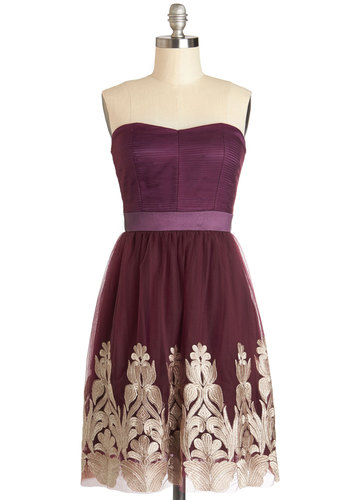 Nom de Plum Dress - Knit, Woven, Short, Purple, Gold, Embroidery, A-line, Strapless, Better, Sweetheart, Party, Prom, Wedding, Bridesmaid