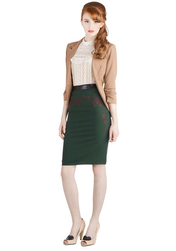 Winter Holiday Soiree Skirt - Faux Leather, Woven, Floral, Embroidery, Holiday Party, Pencil, Better, Green, Green, Work, Winter, Mid-length