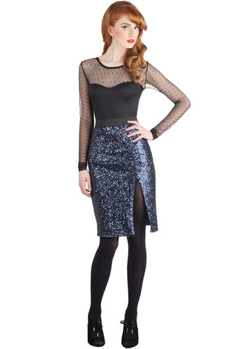 Cabaret or Shine Skirt - Knit, Mid-length, Blue, Solid, Party, Girls Night Out, Holiday Party, Luxe, Statement, Pencil, Better, Sequins, Blue