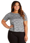Next Zig Thing Top in Plus Size - Knit, Grey, Black, Print, Short Sleeves, Scoop, Grey, Short Sleeve