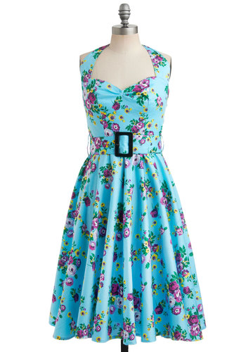 Enchanted Afternoon Dress - Blue, Yellow, Green, Purple, Floral, Buckles, Casual, Vintage Inspired, 50s, A-line, Halter, Spring, Summer, Show On Featured Sale, Fit & Flare, Daytime Party, Pinup, Belted, Cocktail, Cotton, Best Seller, Sweetheart, Mid-length, Top Rated