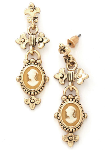 Cameo La La New Heirloom Earrings - Orange, White, Solid, French / Victorian, Gold, Good, Exclusives