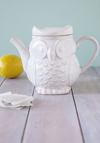 The Gang's Owl Here Teapot - Owls, Quirky, Good, White, Print with Animals, Wedding
