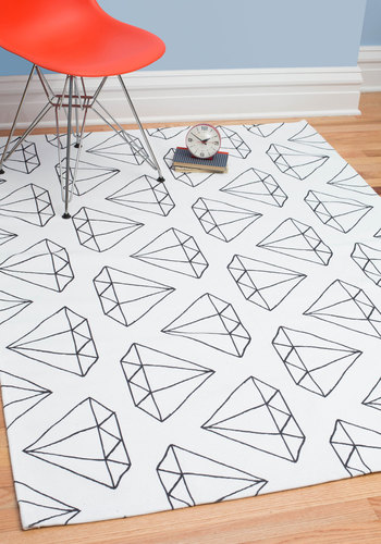 Diamonds Are Floor-ever Rug 4x6 - Woven, White, Dorm Decor, Best, Black, Novelty Print